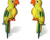 Aretes Artesanales Pintados a Mano: Loros Verdes
